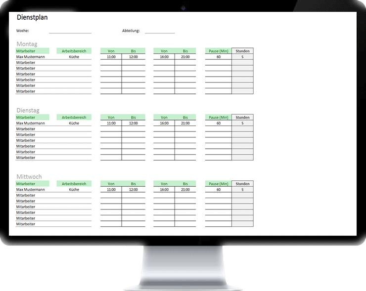 Dienstplan mit Excel erstellen - Kostenlos zum Download